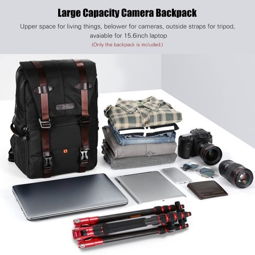 K&F Concept Waterproof Photography Bag Professional Camera Backpack Large Capacity for DSLR Cameras 15.6in Laptop Tripod Lenses
