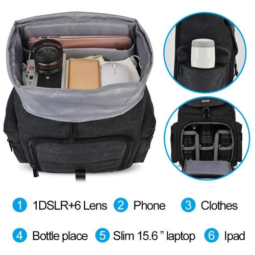 CADeN Camera Backpack Canvas Waterproof Camera Bag Outdoor Wear-Resistant Large Photography Bag for Nikon Canon Sony DSLR