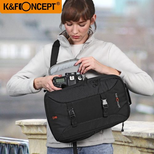 """K&F CONCEPT Camera Sling Backpack Classic Side Compartments Travel Shoulder Bag Case for 7"""" Ipad with Tripod Holder Rain Cover"""